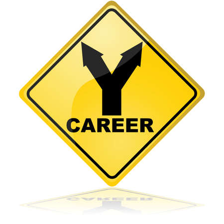 Traffic sign showing a fork with two options for a career path Vector