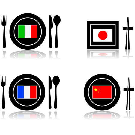 chopstick: Icons for international food and restaurants: Italian, French, Japanese and Chinese