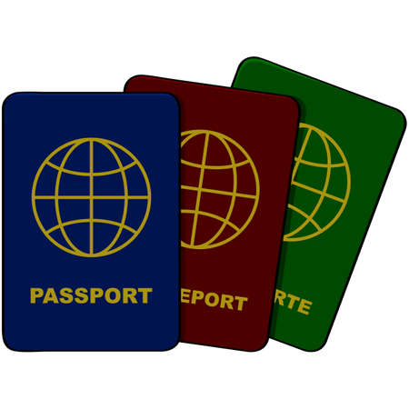 credentials: Cartoon illustration showing three passports in different colors and languages