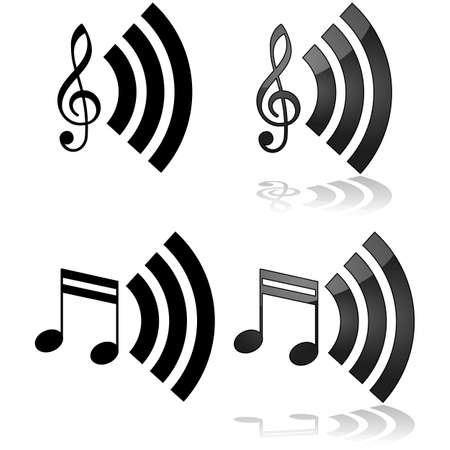 multimedia icons: Icon illustration that can be used for streaming music Illustration