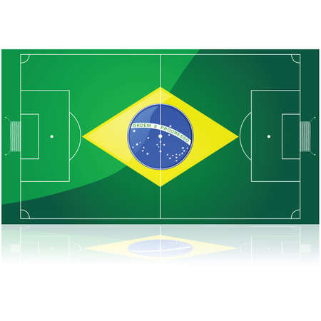 Concept illustration showing a Brazilian flag drawn over a football (soccer) pitch. Vector