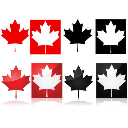 shiny black: Series of icons depicting the Canadian maple leaf and red and white or black and white