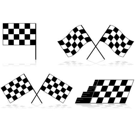 bandera carrera: Iconos que muestran una bandera a cuadros la carrera en diferentes ángulos y arreglos