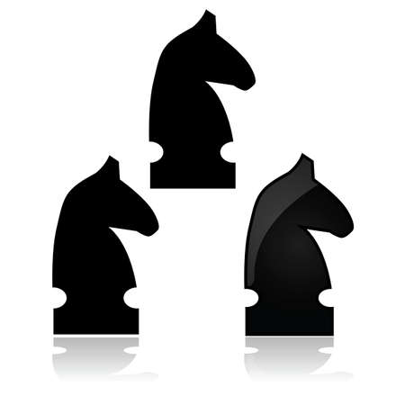 Icon showing a knight from a chess match, in different styles Çizim