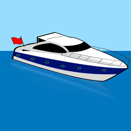 anchored: Cartoon illustration of a speed boat anchored on a calm spot Illustration