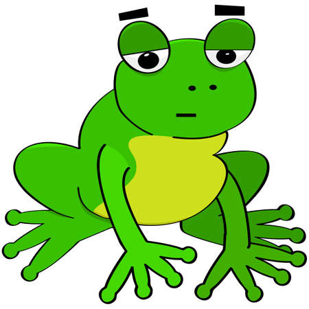 Cartoon illustration showing a frog that looks bored Vettoriali