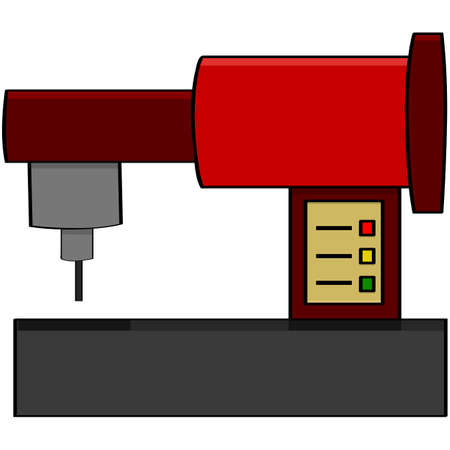 Cartoon illustration showing a red sewing machine