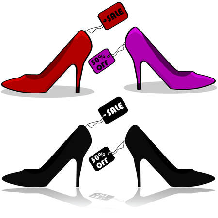 Icons showing womens shoes with tags showing theyre on sale Ilustração