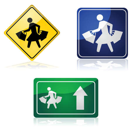 consumer society: Traffic signs showing a woman carrying shopping bags