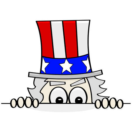 sam: Concept cartoon illustration showing Uncle Sam sneakily looking over a wall to spy on someone else