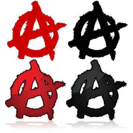 Simbolo del movimento anarchico, un capitale A sopra un cerchio Archivio Fotografico - 25268134