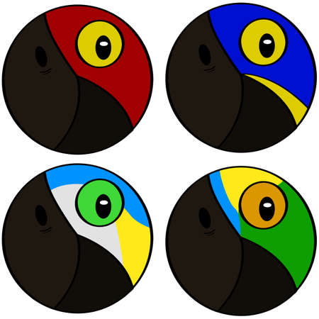 Round icons showing stylized representation of macaw bird heads