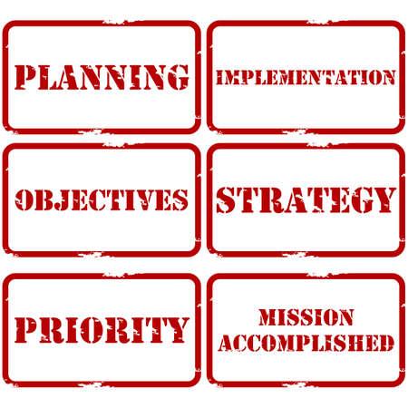 Serie postzegels die gebruikt kunnen worden voor de strategische planning van presentaties en documenten Stock Illustratie