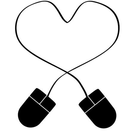 Concept illustration showing a couple of computer mouse cords tangled to form a heart Vector