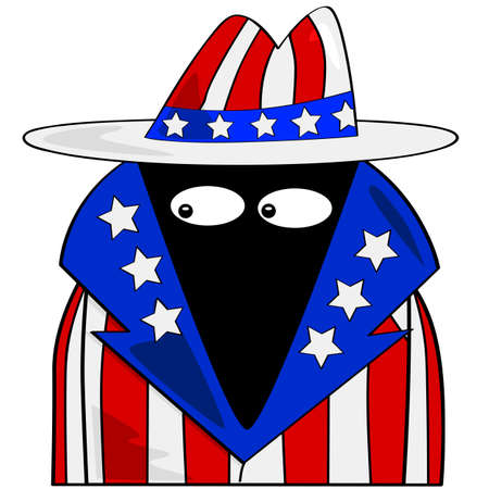 imperialism: Cartoon illustration showing a spy dressed in clothes with the colors of the United States flag
