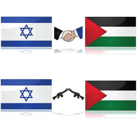 israel war: Concept showing the flags of Israel and Palestine divided by weapons or a handshake, signifying war and peace