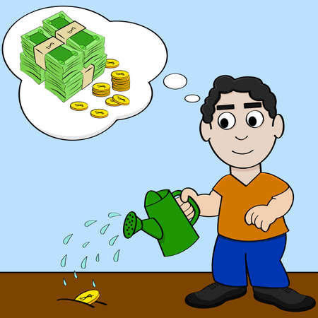 more money: Concept cartoon illustration showing a man watering a coin and dreaming about it growing into more money