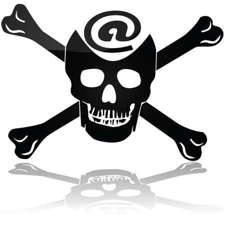 Concept illustration montrant un crâne de pirate et os signent avec le symbole @ pour représenter la piraterie Web Vecteurs