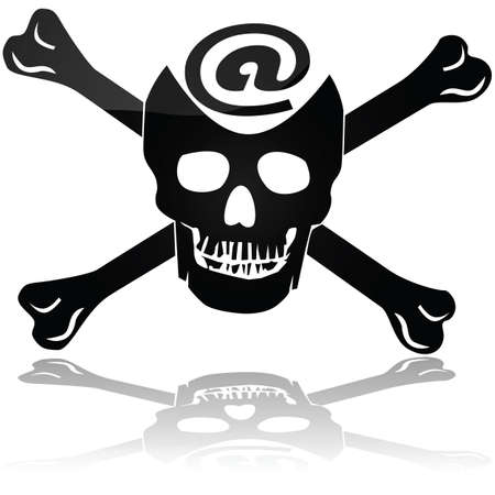 represent: Concept illustration showing a pirate skull and bones sign with an @ symbol to represent Web piracy