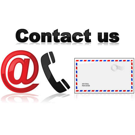 contacting: Icons showing different means of contacting a company or organization Illustration