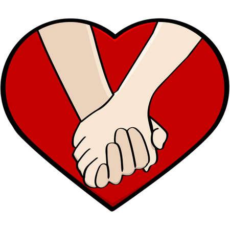 manos sosteniendo: Ilustración de dibujos animados que muestra un primer plano de una pareja cogidos de la mano, enmarcado por un corazón