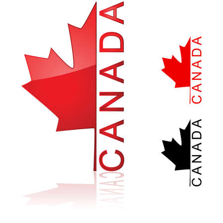 Concept illustration showing half of a maple leaf with the word Canada beside it