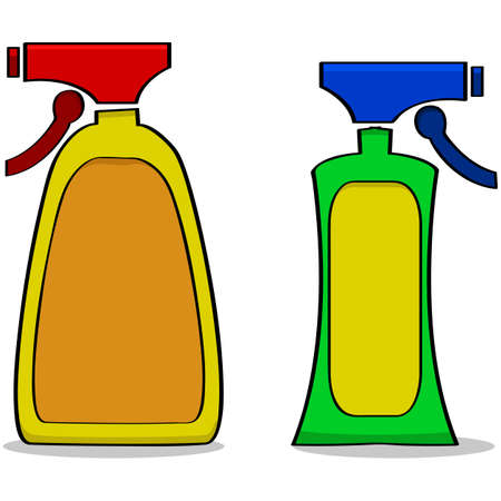 Cartoon illustration of a couple of generic cleaning products Ilustração