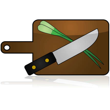 Glossy icon showing a knife and green onions over a wooden cutting board