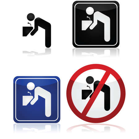 man drinking water: Signs for a water fountain, including one showing its not safe to drink the water