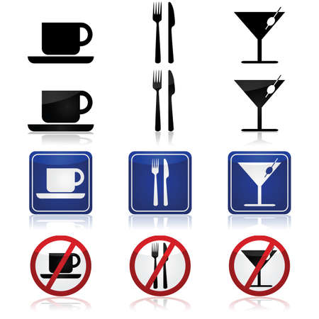 glass reflection: Generic icons for a bar and restaurant, with a cup, fork and knife and a cocktail glass Illustration
