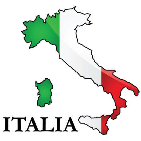 representations: Glossy illustration showing the flag of Italy placed on top of the countrys map.