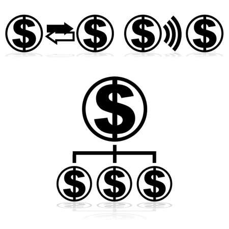 geld: Pictogrammen die aangeven geld uitwisseling en overdracht patronen Stock Illustratie