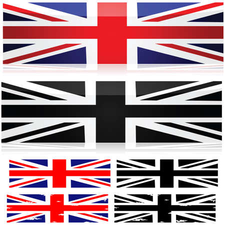 Union Jack flag represented in different styles in color and black and white