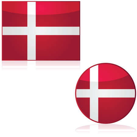 Flag and round icon showing the flag of Denmark