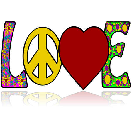 60s hippie: Concept illustration showing the word love with graphic elements simulating colors and symbols associated with the 1960s Illustration