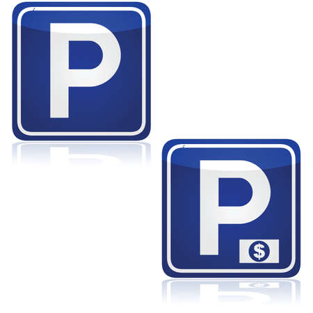 Traffic signs for both parking and paid parking zones Illustration