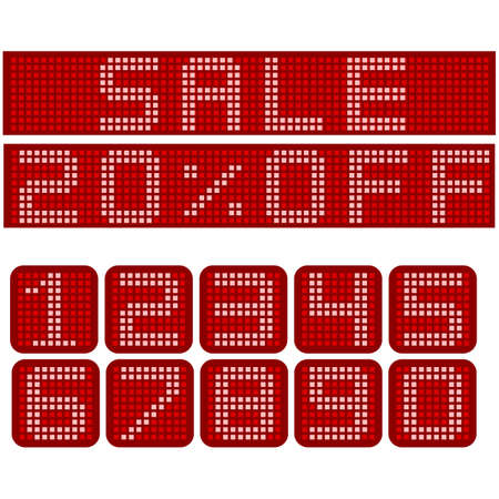 Electronic red sign with the message for a sale and different levels of discounts