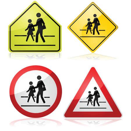 異なった交通標識近く学校交差のコレクション