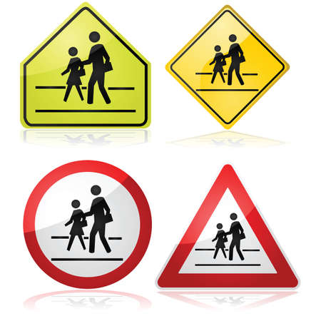 Collection of different traffic signs indicating a nearby school crossing