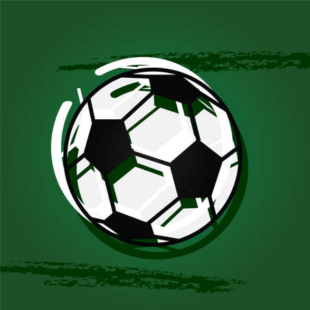 Concept illustration showing a stylized soccer ball over a green  Illusztráció