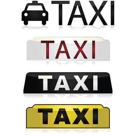 Set of different Taxi signs using various shapes and colors