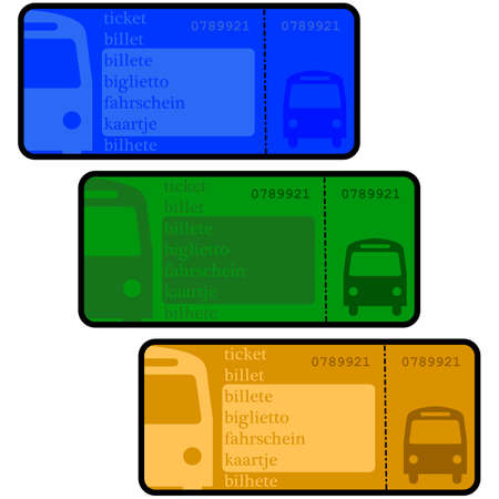 Cartoon illustration showing bus ticket templates in different colors Иллюстрация
