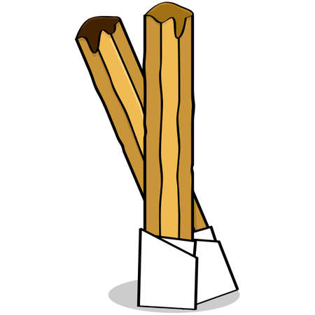 dipping: Cartoon illustration of the traditional Spanish pastry called churros