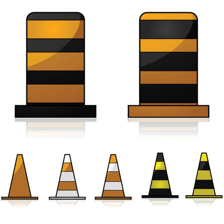 Glossy illustration showing traffic and construction cones in different colors