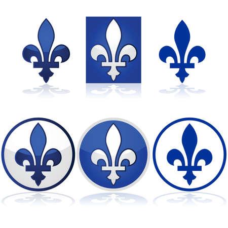 Lesklý ilustrace zobrazující Quebec Fleur-de-Lys v modré a bílé Ilustrace