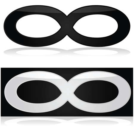 Glossy illustration showing the infinity symbol in black and white Illustration