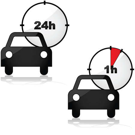 renting: Icons showing two options for renting a car: for one or 24 hours Illustration