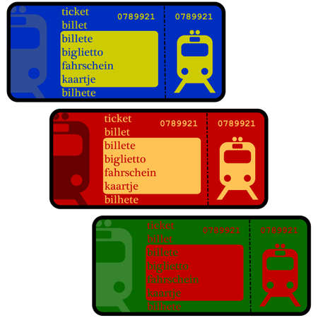 Cartoon illustration showing train ticket templates in different colors
