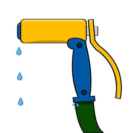 Cartoon illustration showing a water gun attached to a water hose