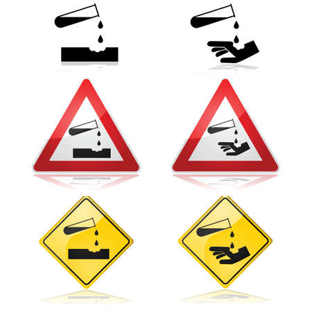 Warning signs showing drops from a corrosive substance on a flat surface and a hand Иллюстрация